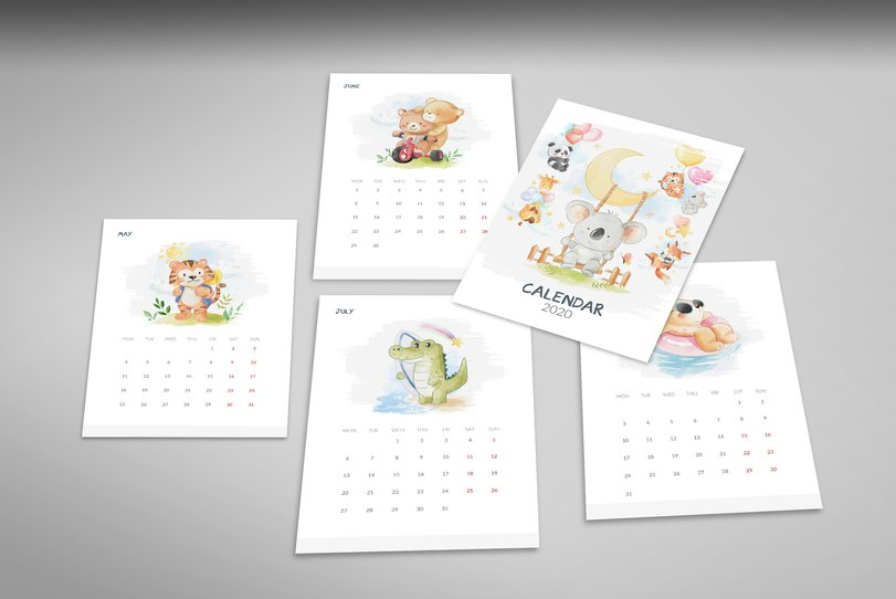 Calendar 2020 - pages: May - August